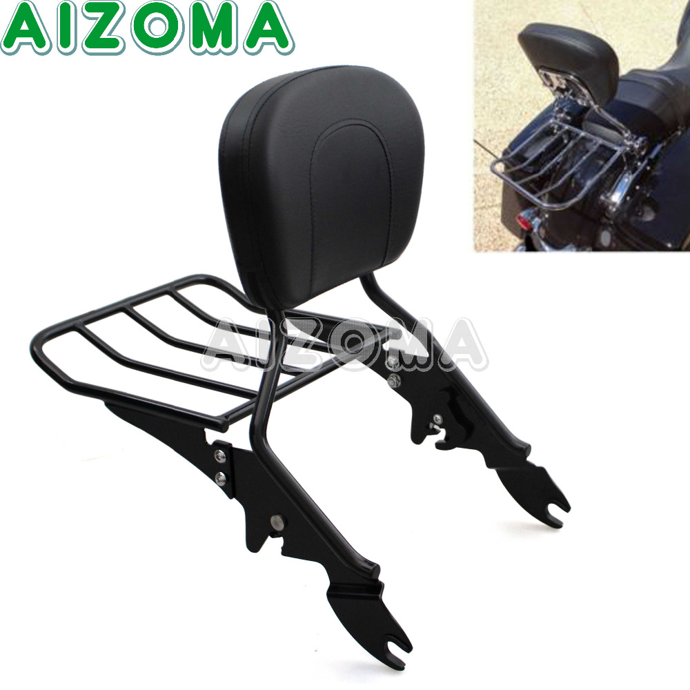 Black Motorcycle Backrest Sissy Bar w/Detachable Luggage Rack Holder Kit For Harley Street/Electra Glide Road King 09-17 12 pcs lot 1 box diy cute cartoon fashion wood stamptopia stamps for diary scrapbooking decoration free shipping 668