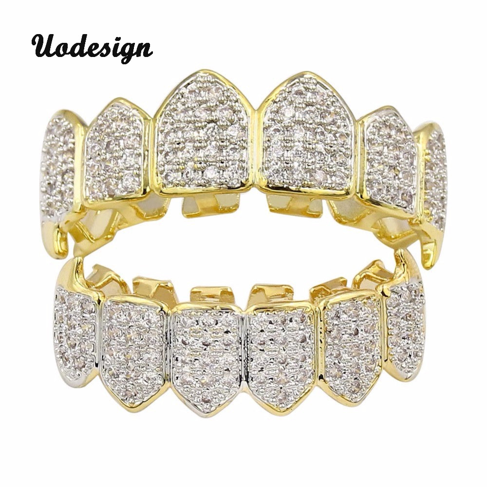 High Quality Hip Hop GRILLZ Iced Out AAA Zircon Fang Mouth Teeth Grillz Caps Top & Bottom Grill Set Men Women Vampire Grills topgrillz hip hop grillz iced out aaa zircon fang mouth teeth grillz caps top