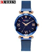 חדש Curren שעונים נשים אופנה עסקים כחול נשים לצפות גבירותיי נירוסטה צמיד אישה שעון למעלה מותג נשים שעונים
