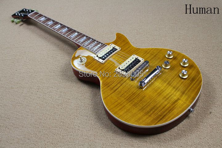 Hot Sale lp standard electric guitar tiger maple cover slash guitar signature limited issued high quality real guitar PICS lp electric guitar les tiger striped maple cover yellow color paul golden hardware classical 1957 guitar support customization