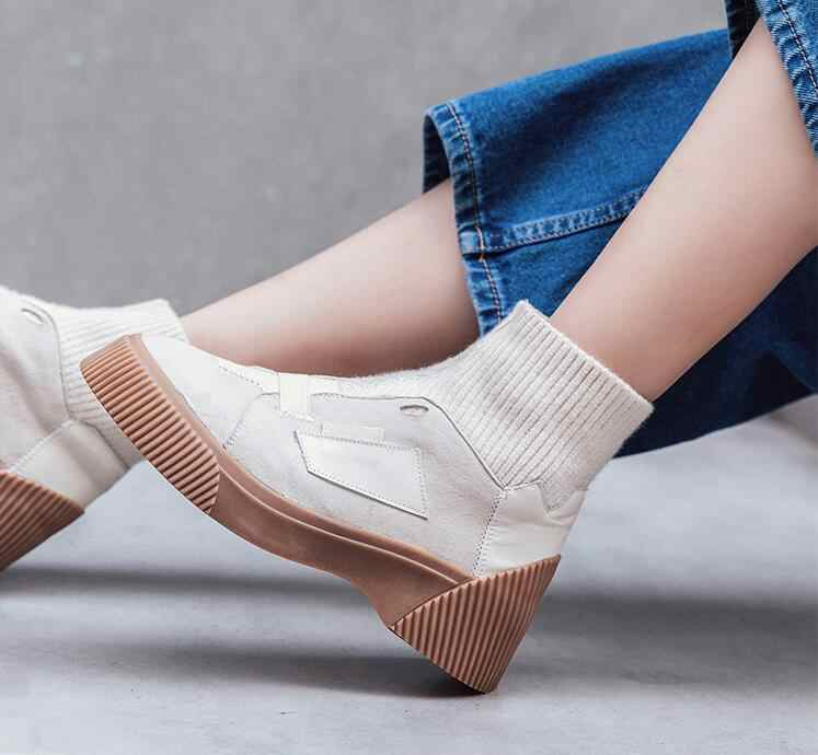 Moda 2018 Kadın Kayısı Çorap Çizmeler Platformu 5 cm Elastik Kış yarım çizmeler Streç Kumaş Kısa Botas Mujer Kauçuk Patik
