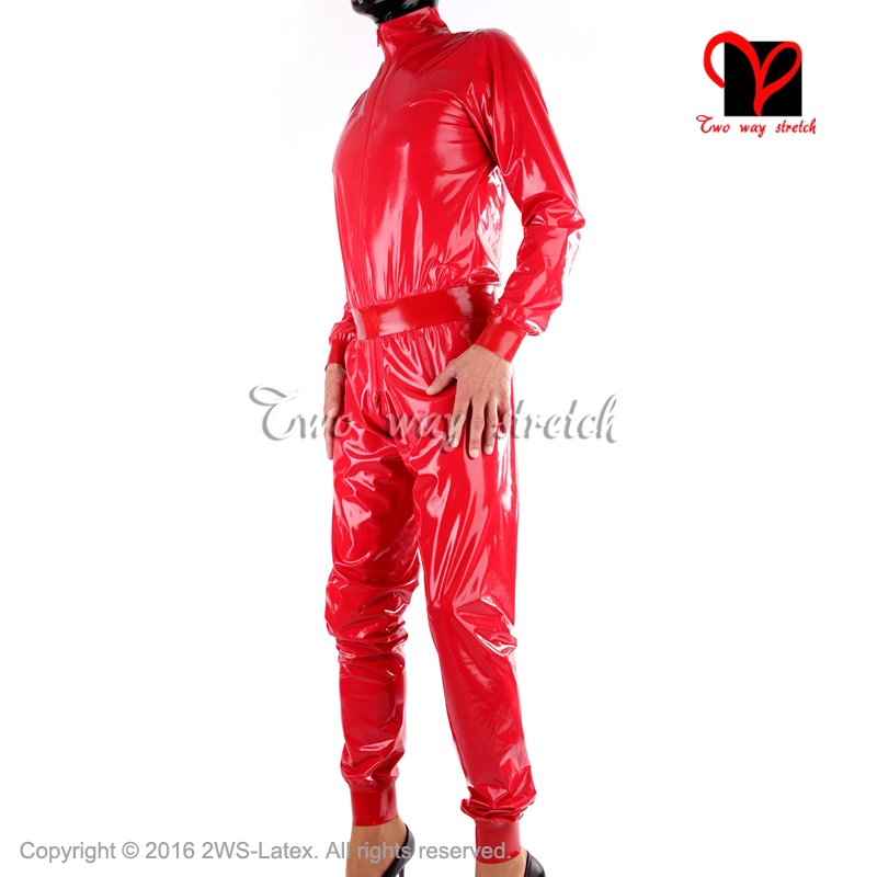 b9b90543ce1c Red Sexy Loose Latex Catsuit with belt Front zip Rubber zentai Leotard suit  long sleeves unitard