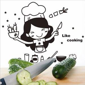 Image 3 - الإبداعية لطيف المطبخ الجدار ملصق للإزالة مقاوم للماء المطبخ الجدار ملصق ديكورات منزلية للمنتجات المنزلية