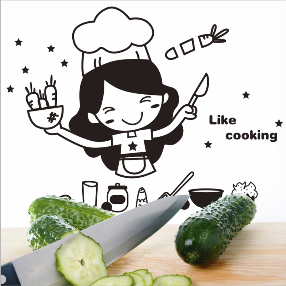 Image 3 - Creative Cute Kitchen Wall Sticker Removable Waterproof Kitchen Wall Sticker House Decoration For Household Products-in Wall Stickers from Home & Garden