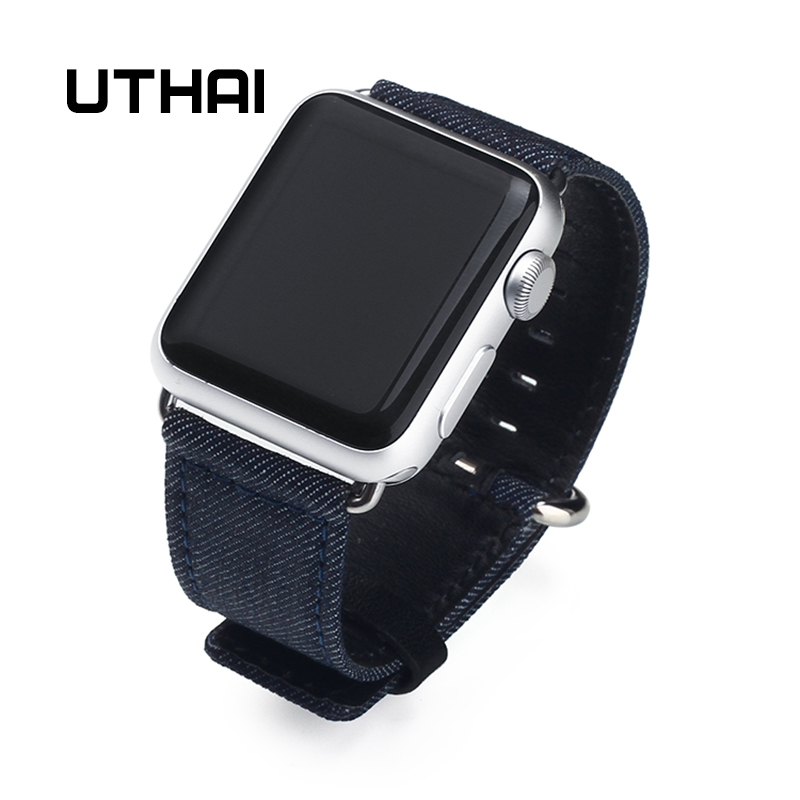 UTHAI H01 Fashionable denim material apple watch band 38mm / 42mm Apple Watch strap denim material цены онлайн