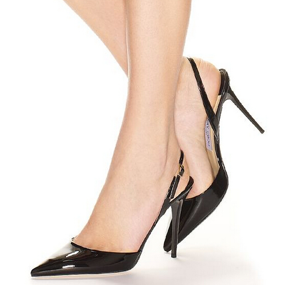 e7de7f78e05 US $78.98 |Fashion Jimmy Women shoes Tarida woman high heels black Patent  Leather Sling Back pointed toe Pumps ladies wedding shoes 35 42-in Women's  ...