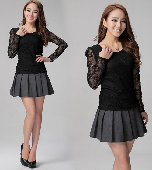 Short Black Pleated Skirt
