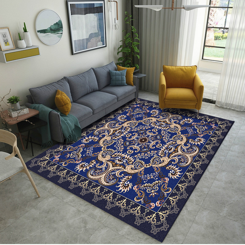 Us 6 75 25 Off Royal Blue Palace Fl Printed S M Size Carpet Foot Rugs European Table Bedside Floor Mat Alfombras Schapenvacht In Rug From Home