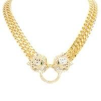 Двойной цепи с двойной головы леопарда Цепочки и ожерелья