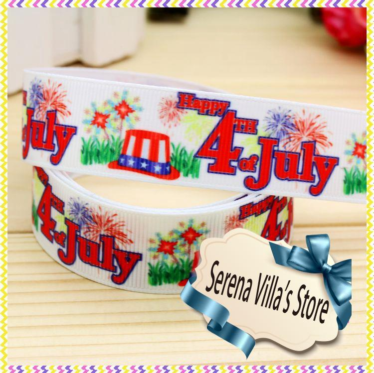 High quality printed ribbon 50 yards 7/8 birthday gift paking polyester single face