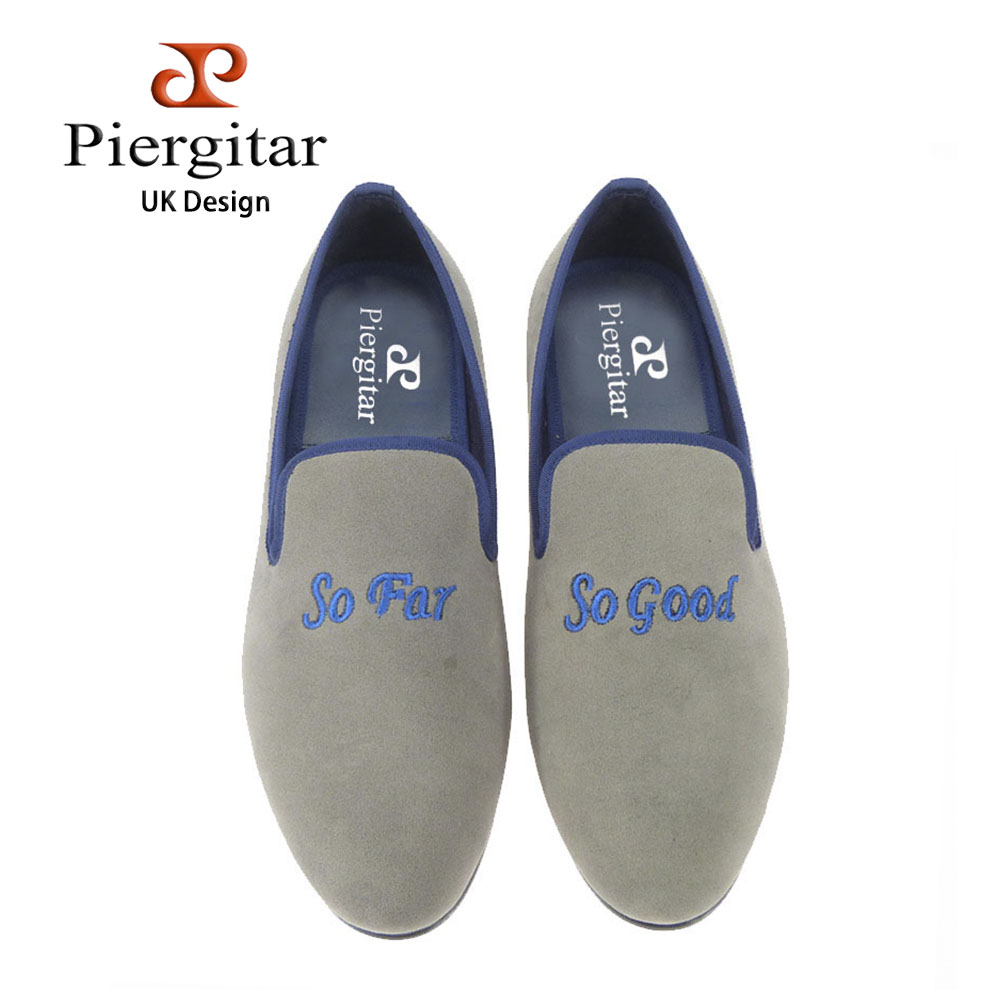 Piergitar fashion Handmade men velvet shoes with embroidered different words, grey or royalblue color prom and banquet Loafers different diversities or diverse differences