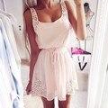 Летнее платье 2015 женские платья женщин сексуальный летний пляж платья без рукавов о-образным шеи сплошной офф-плечевой ремень Vestidos свободного покроя JX062