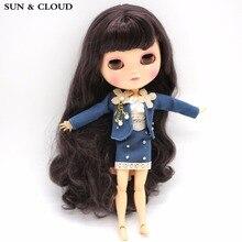 Sol & kläder 3 st / set Navy Blue Suit Set Uniform Kjol Kläder med Bra för 1/6 30cm Blyth Doll