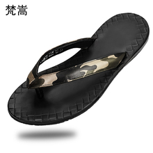 Flip Flops European Station luxury mens Summer sandals camouflage fender summer men genuine leather slippers casual Shoes beach