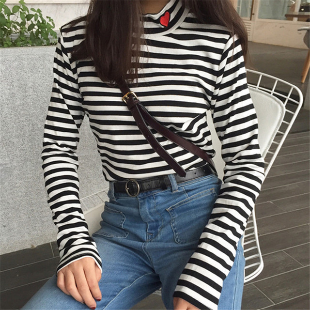 6d73ba6074c Nepole Autumn Red Heart Embroidery T shirts Korean Fashion Striped Women T  shirt Long Sleeve Turtleneck Ladies T-shirts 63659