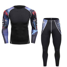 2017 colorful Mens Moisture Wicking Quick Dry Base Layer sets Long Sleeve Tops Shirt Tight Leggings suit Compression Set