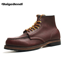 цена US5-11 Genuine Leather Lace Up Round Toe Work Safety Ankle Boots Mens Winter Snow Riding Boots онлайн в 2017 году