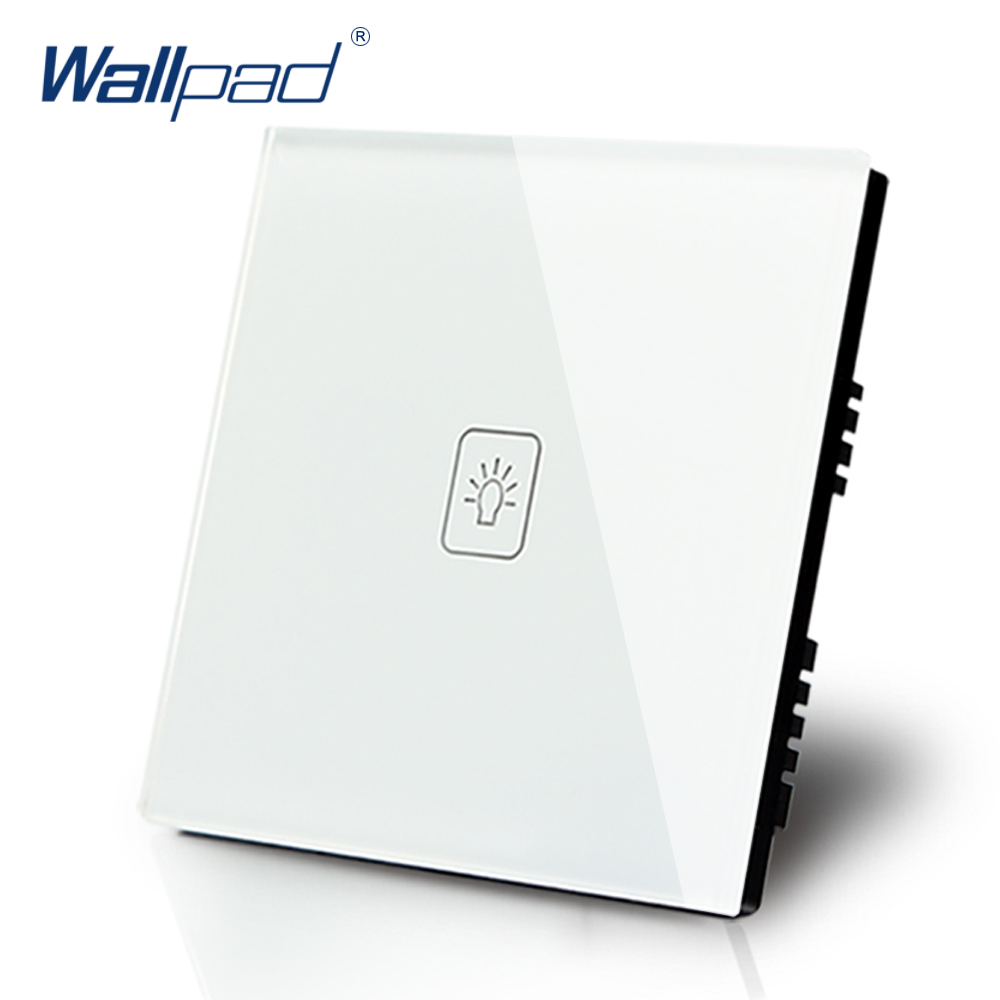 Wallpad Luxury White Crystal Glass Wall Switch Touch Switch Normal 1 Gang 1 Way Switch AC 110-250V UK Standard smart home us au wall touch switch white crystal glass panel 1 gang 1 way power light wall touch switch used for led waterproof