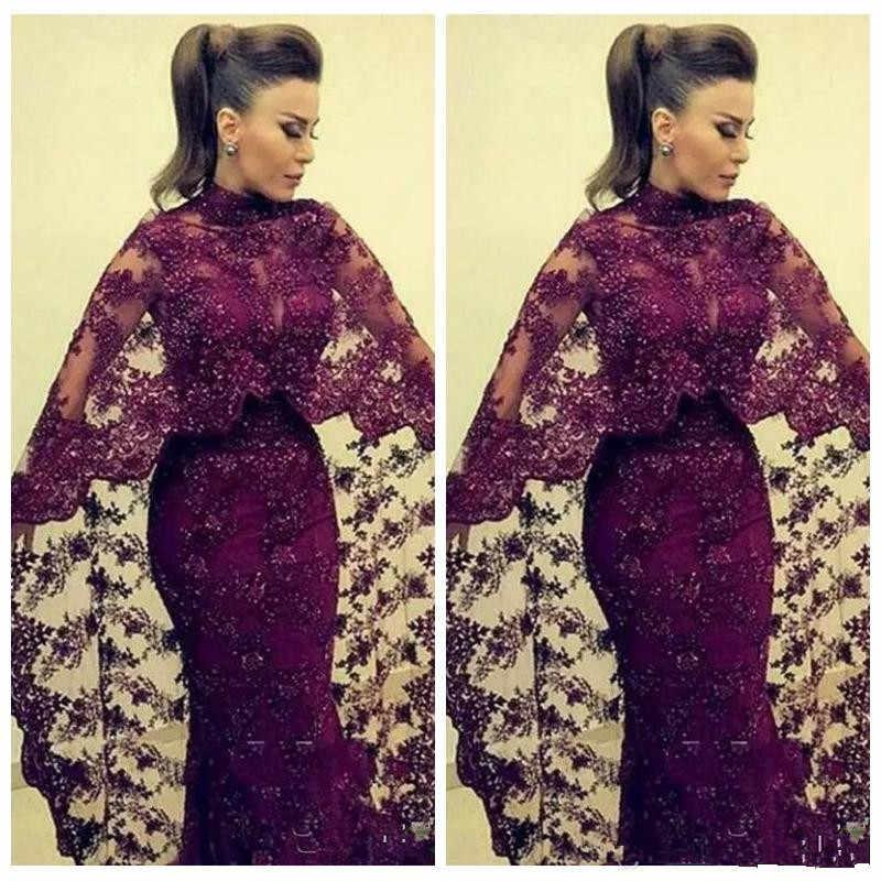 07cb4e9823d7a Burgundy Muslim Evening Dresses 2019 Mermaid Long Sleeves Lace Beaded  Islamic Dubai Saudi Arabic Long Elegant