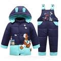 2016 новые Зимние детские пуховик костюм снег теплые мальчики и девушки пальто + брюки пуховик толстый теплый специальный