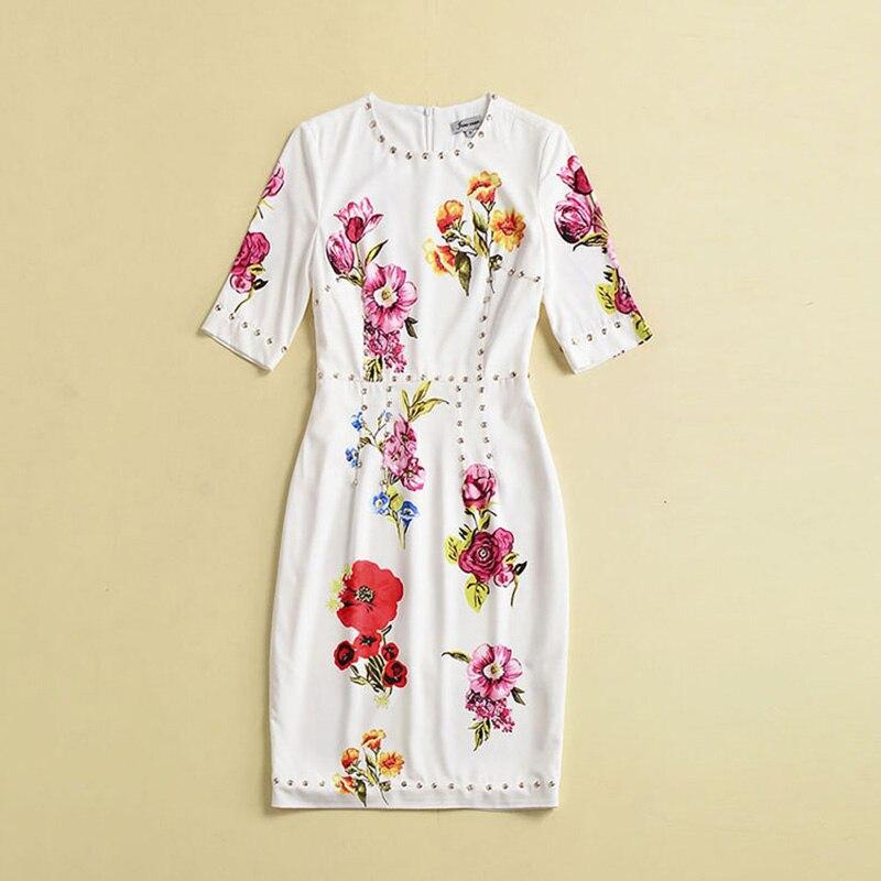 Vêtements Tunique Blanc Cristal Femmes Bouton Midi Robes Femme Parti Élégant De Floral Robe 2018 Longue Vintage Ruwnay Luxe D'été Nwnm08