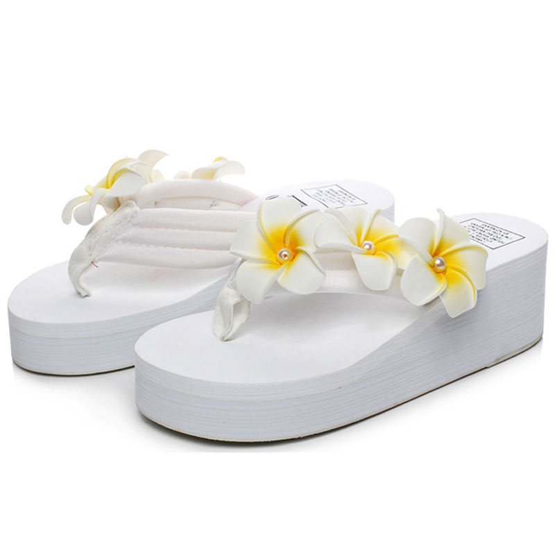 Bohemia Flowers Woman Beach Flip Flops Summer Style Slides Slip- Resistant Slippers Casual Platform Wedges Shoes Woman yeerfa 2017 wedges sandals beach flowers flip flops slip on flats platform shoes woman casual creepers pearl slippers size 35 41