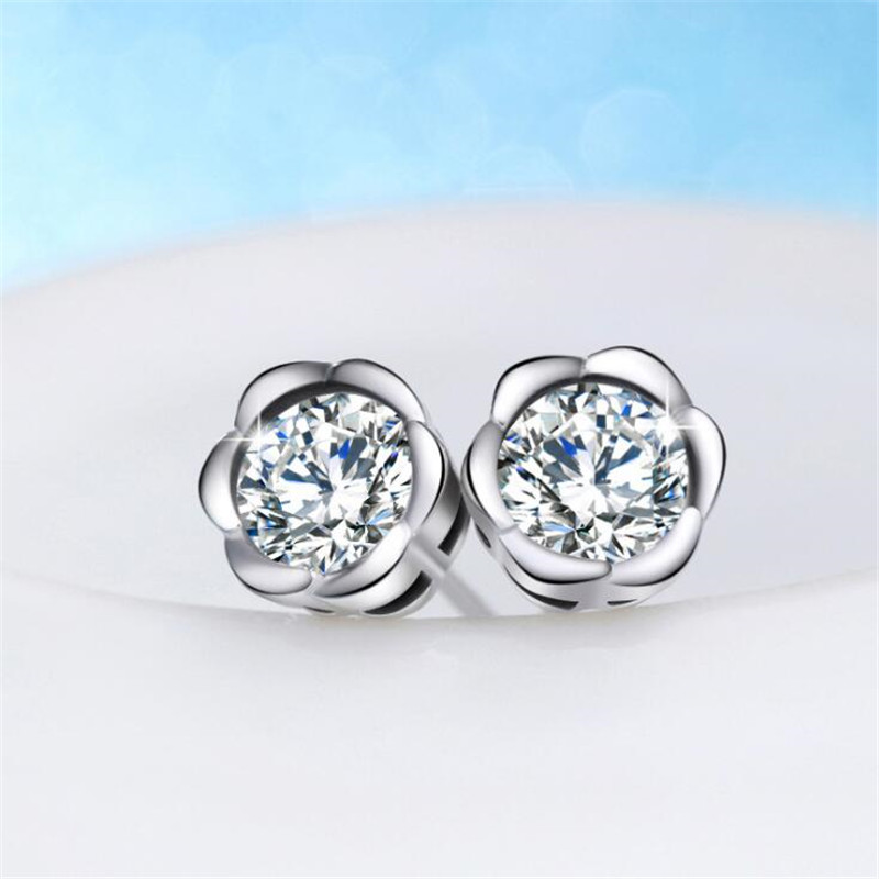 Stud Earrings Competent Korean Style Simple Plum Blossom Personality 925 Sterling Silver Fashion Jewelry Beautiful Flowers Crystal Stud Earrings E269