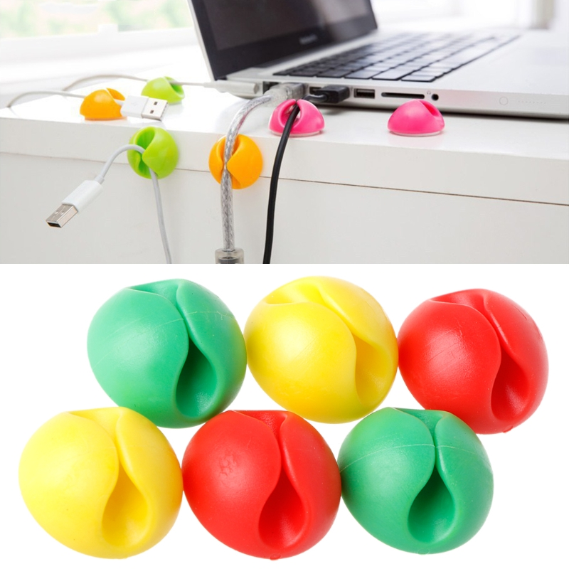 6Pcs Desktop Cable Organizer Cable Winder Wire Drop Clips Tie Holder Cord Line Fixed Clamp For Car USB Charging Tablet