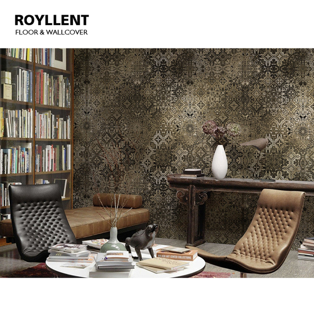 Rome Pattern Mural Wall Paper TV Background Metal Texture Home Decor For Livingroom Post Modern Style Wood Fiber Wallcovering