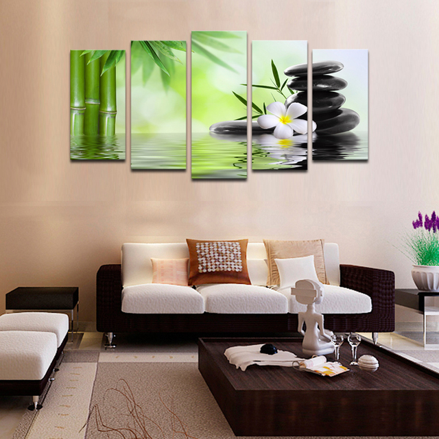 cheap wall frames 5 piece bamboo stone scenery modern home wall decor canvas picture