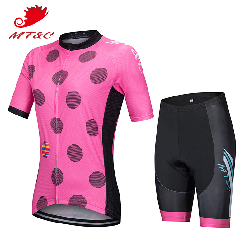 MT&C Women Cycling Jersey Set Breathable Pink Spot Clothes Quick Dry 9D Gel Pad Bicycle Spring Summer Sportswear Bike Clothes