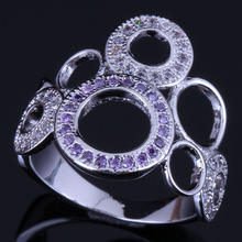 Royal Round Purple Cubic Zirconia White CZ 925 Sterling Silver Ring For Women V0486