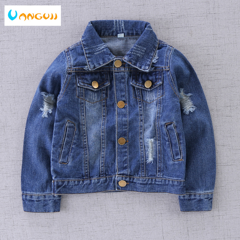 boys autumn coat denim jacket for kids 1-9 years old Washed stone hole short coat Metal buttons Soft treatment all match outwear
