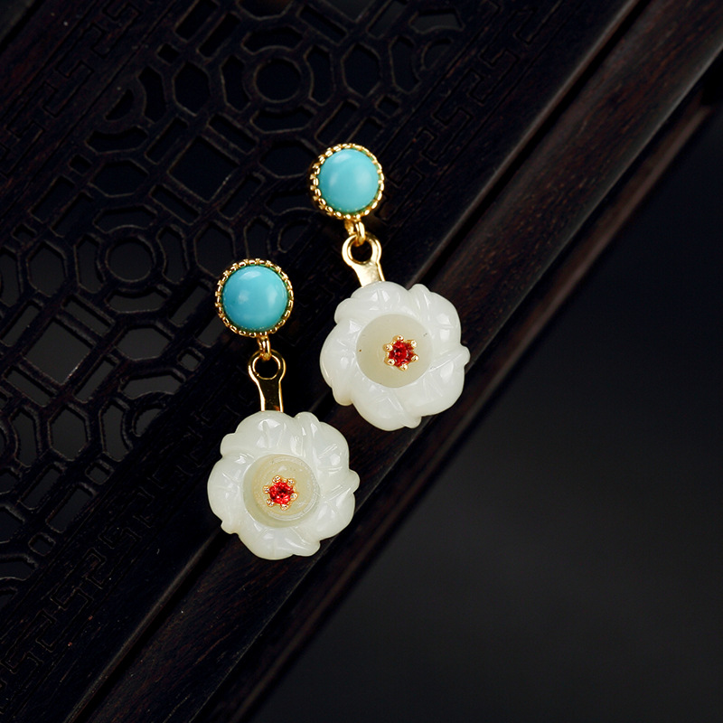 925 sterling silver natural hetian jade turquoise drop earrings designer works elegant earrings for women charms fine jewelry