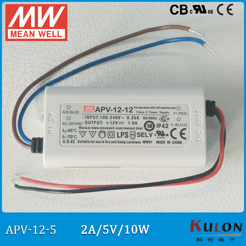 Original Meanwell 5V Power Supply APV-12-5 10W 5V 2A IP42 mean well LED driver APV-12 UL CB CE EMC 90w led driver dc40v 2 7a high power led driver for flood light street light ip65 constant current drive power supply