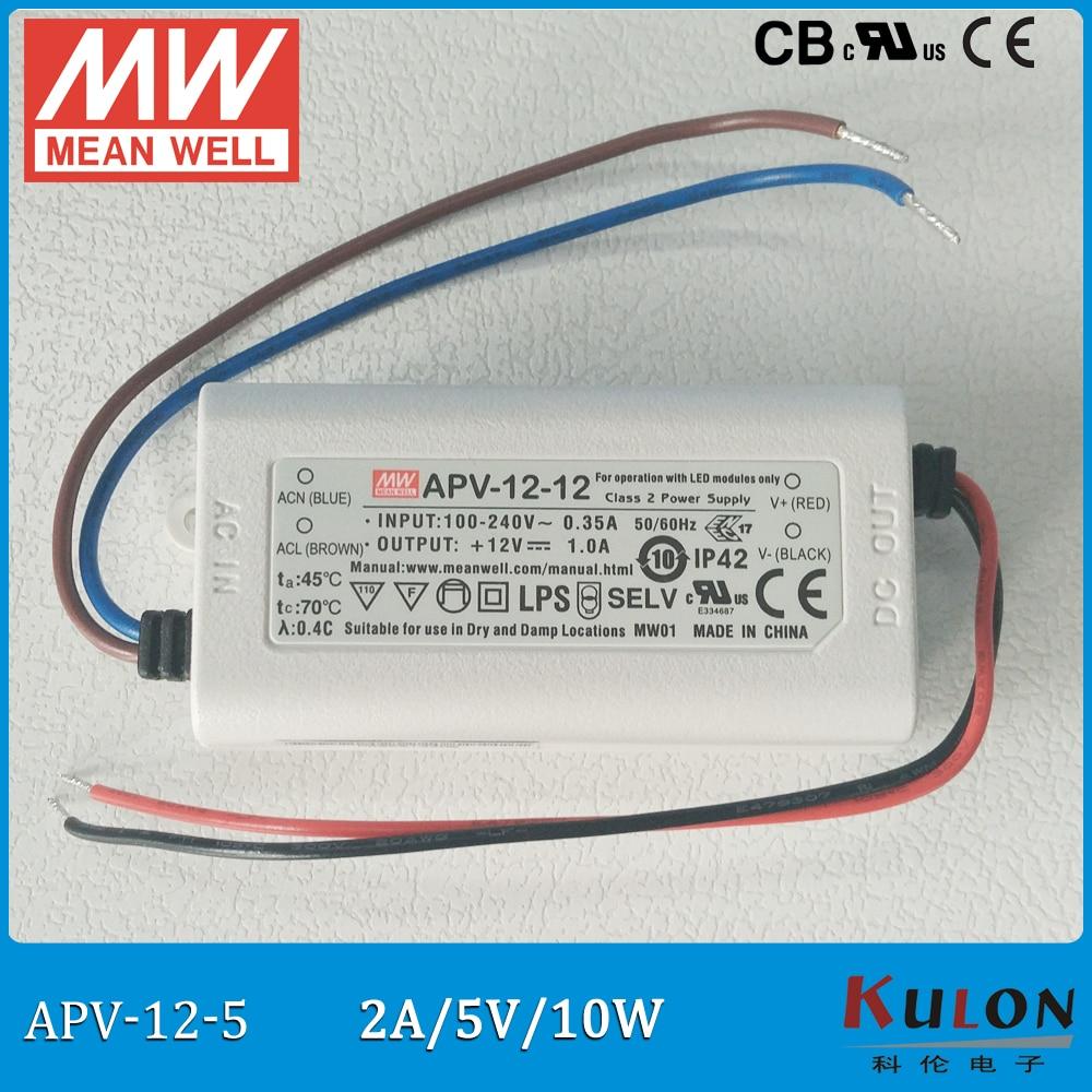 Original Meanwell 5V Power Supply APV-12-5 10W 5V 2A IP42 mean well LED driver APV-12 UL CB CE EMC 12 5