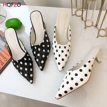 HQFZO Fashion Pointed Toe High Heel Ladies Sandals Polka Dot Pattern PU Leather Mules Women Slippers Summer Pumps Black/White covoyyar lovely bow women slippers 2018 summer dot pattern slingback lady sandals mules open toe square heel women pumps wsl535