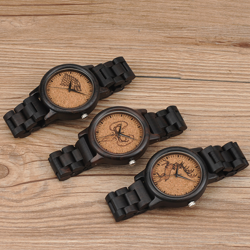 10581316c Bobo Bird N03 Bamboo Wood Men Watches With Ebony Wood Lightweight