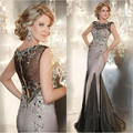 Long Evening Gowns Crystals Tulle Sheer Back Evening Dresses Elegant Groom Mother Of The Bride Dresses