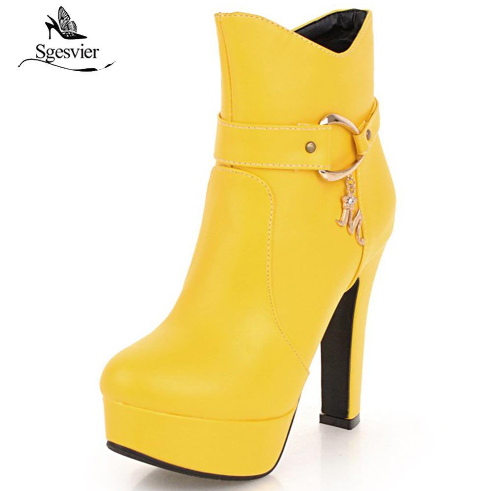 Sgesvier Women Metal Decoration Ankle Boots Thick High Heel Martin Boots Fashion Party Elegant Shoes Large Size 32 48 OX757