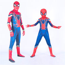 O Ferro Vingadores Spiderman Zentai Traje Cosplay Halloween Party Adulto Unisex Crianças Sexy 3D Bodysuit Macacões Terno(China)