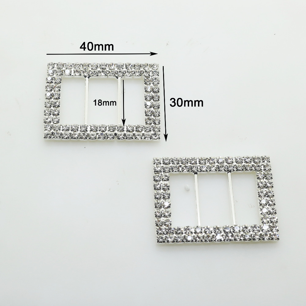 NEW 10Pcs 30*40mm Rectangle Diamond Buckles Factor Outlets metal Buckle Ornaments Accessores Free Shipping