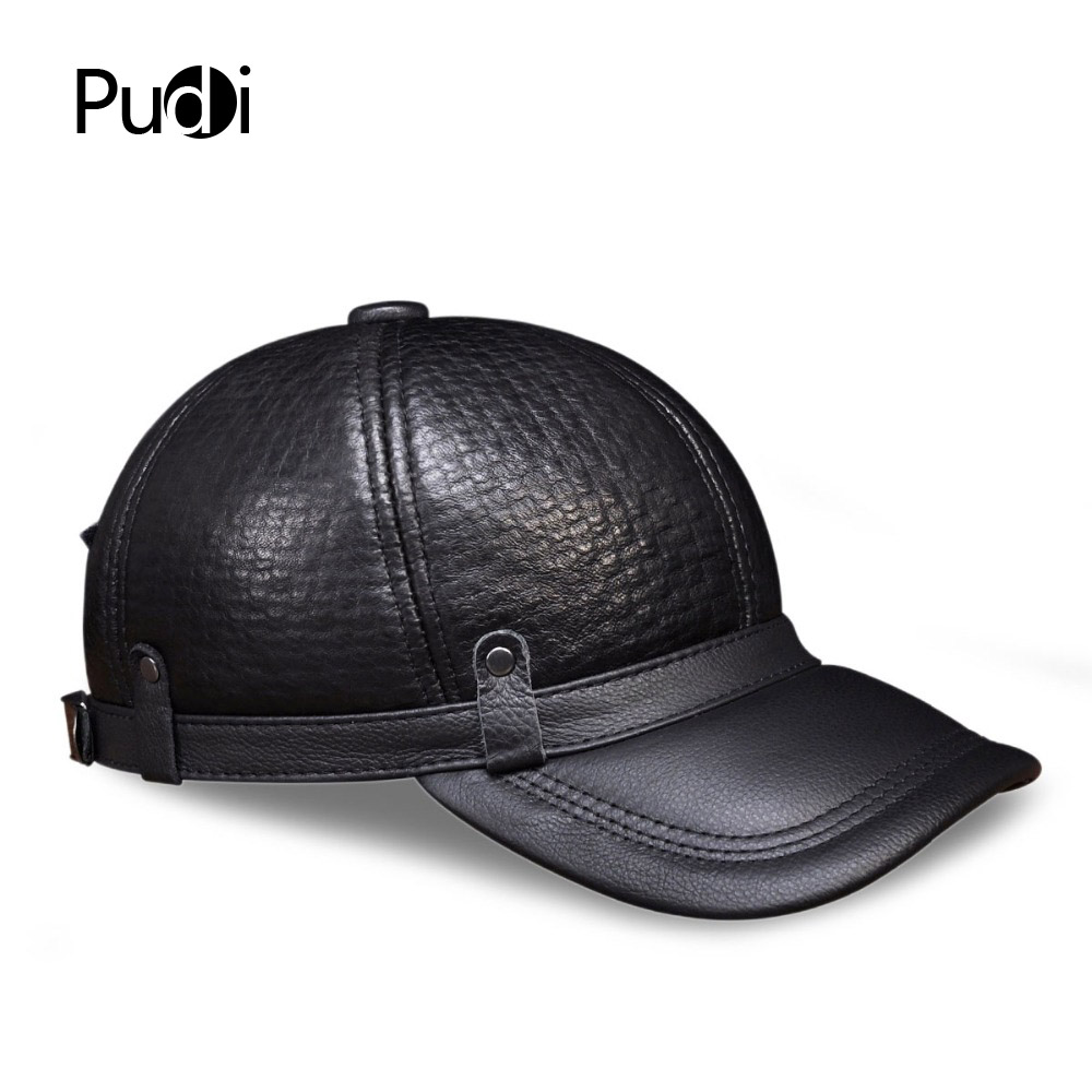 425bda8ef1f63 HL070 Men s genuine leather baseball cap brand new style winter warm  Russian real leather black caps men s hats-in Baseball Caps from Apparel  Accessories on ...