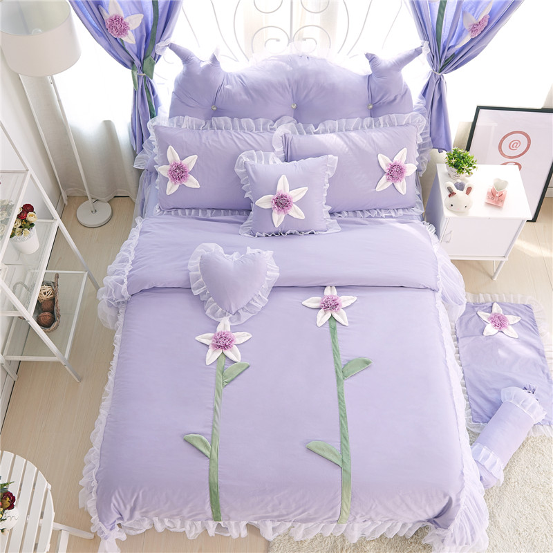 Free shipping 100%cotton&lace applique embroidery flower princess style twin full queen king size bedding set without filler
