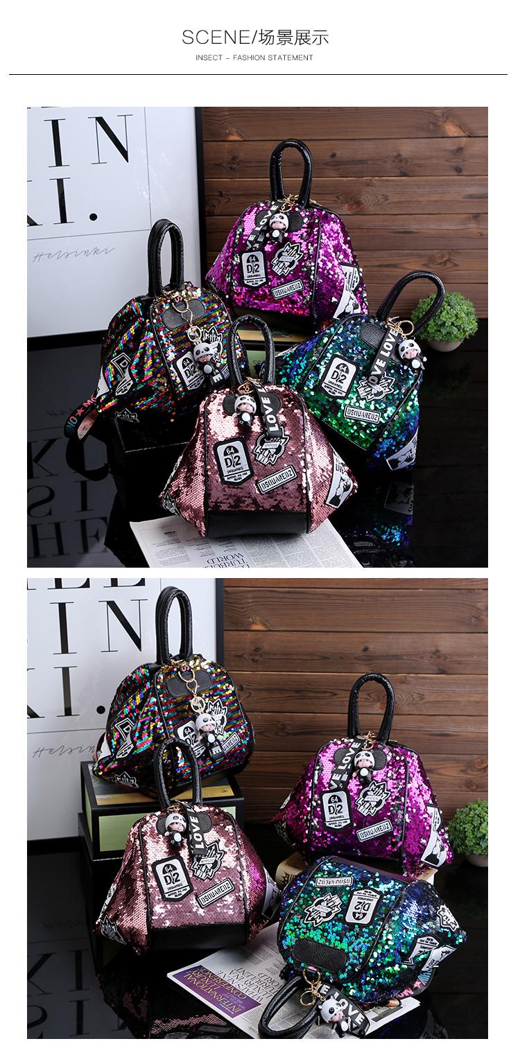 backpack women Fashion Women Bling Shiny Sequins Sparkling Shoulder Bags Larger Capacity Drawstring Bag backpack 83
