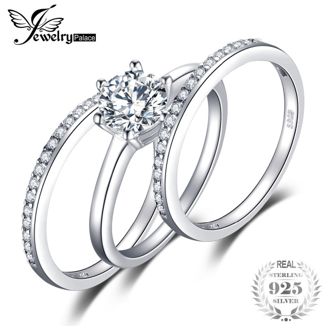 JewelryPalace 15ct Cubic Zirconia 3 Pcs Anniversary Wedding Band Solitaire Engagement Ring Bridal Sets 925