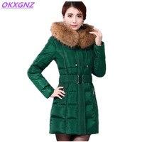 OKXGNZ 2017 Winter Cotton Down Jacket Coat Pure Color Hooded Fur Collar Warm Cotton Eiderdown Coat