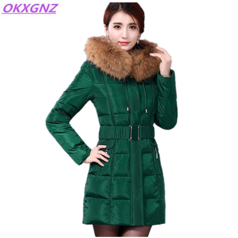 2017 Winter Down Cotton Jacket Female Solid color Hooded Fur Collar Warm Parkas Plus Size Medium Length Thicker Slim Coat OKXGNZ binyuxd women warm winter jacket 2017 fashion women hooded fur collar down cotton coat solid color slim large size female coat