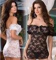 Produto Sexual Lingerie Erótica Sash Pescoço Rosas Lace Bainha Vestido de Noite Das Mulheres Sexy Transparente Sleepwear lenceria erotico AB215
