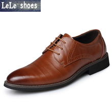 LELE 2017 New Winter Derby Shoes Mens Dress Shoes Genuine Leather Pointed Toe Business Wedding Formal Shoes Luxury Flats